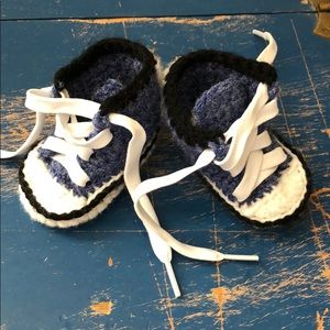 Other - Handmade baby booties-  blue chucks